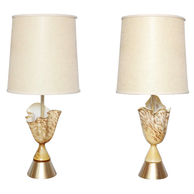 pair of rare 50 39 s murano glass handkerchief lamps for sale