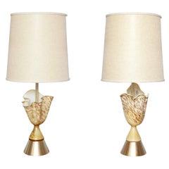 Pair of Rare 50's Murano Glass Handkerchief Lamps