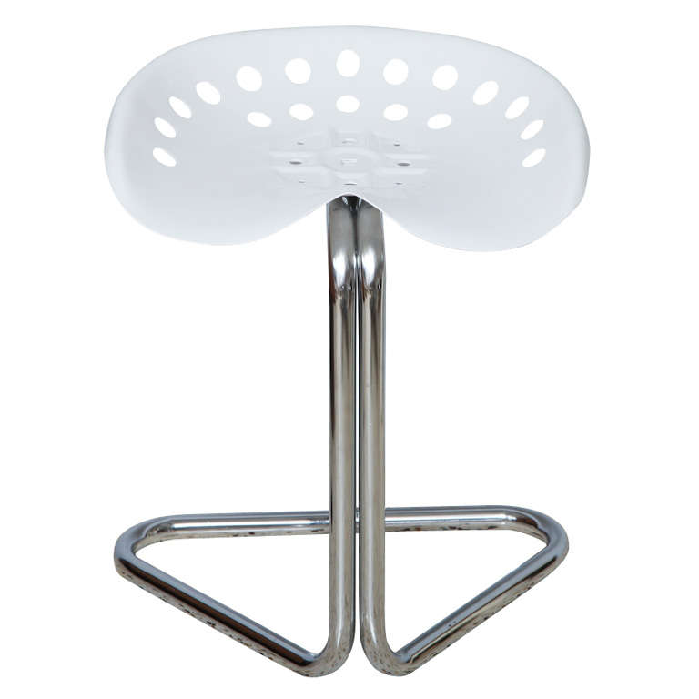 White Powder Coated Tractor Seat Stool At 1stdibs