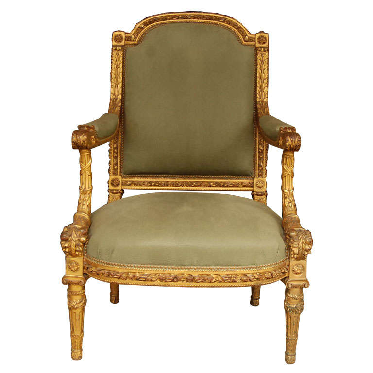 Louis XVI Style Giltwood Fauteuil