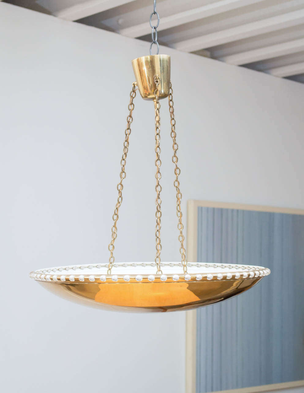 Brass bowl chandelier for sale at 1stdibs a brass bowl chandelier rimmed with small glass balls and suspended with three brass chains mozeypictures Gallery