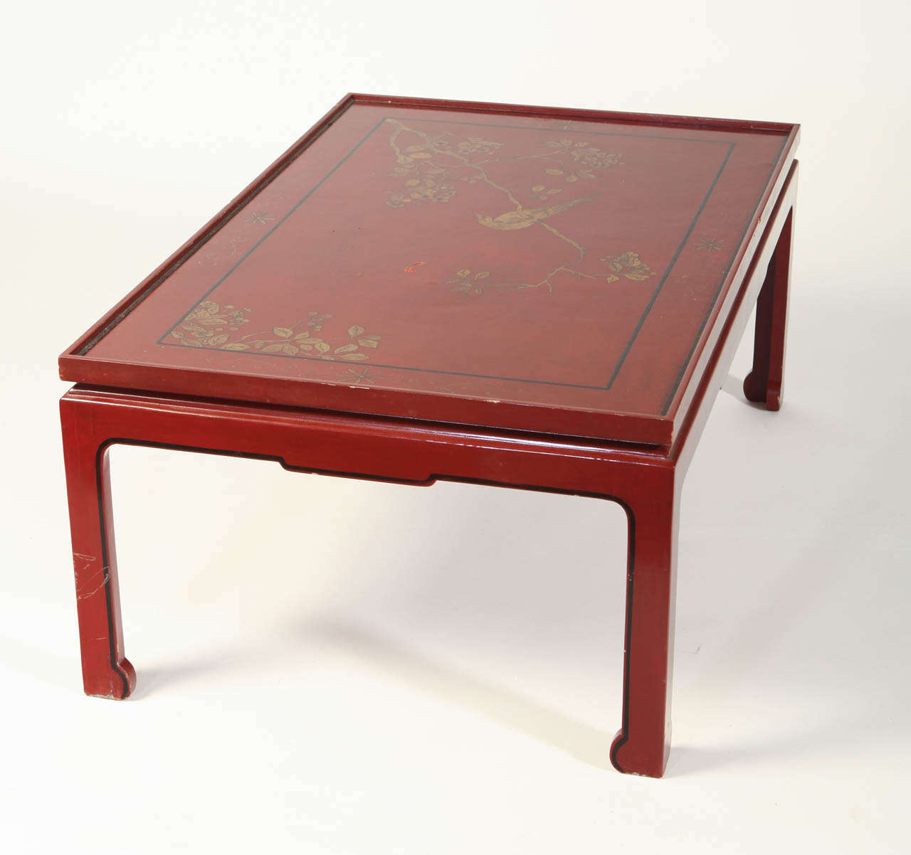 Square Red Lacquered Coffee Table For Sale 2