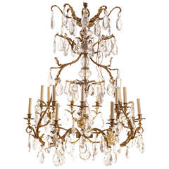 French Gilt Bronze and Cut-Glass, 14-Light Chandelier