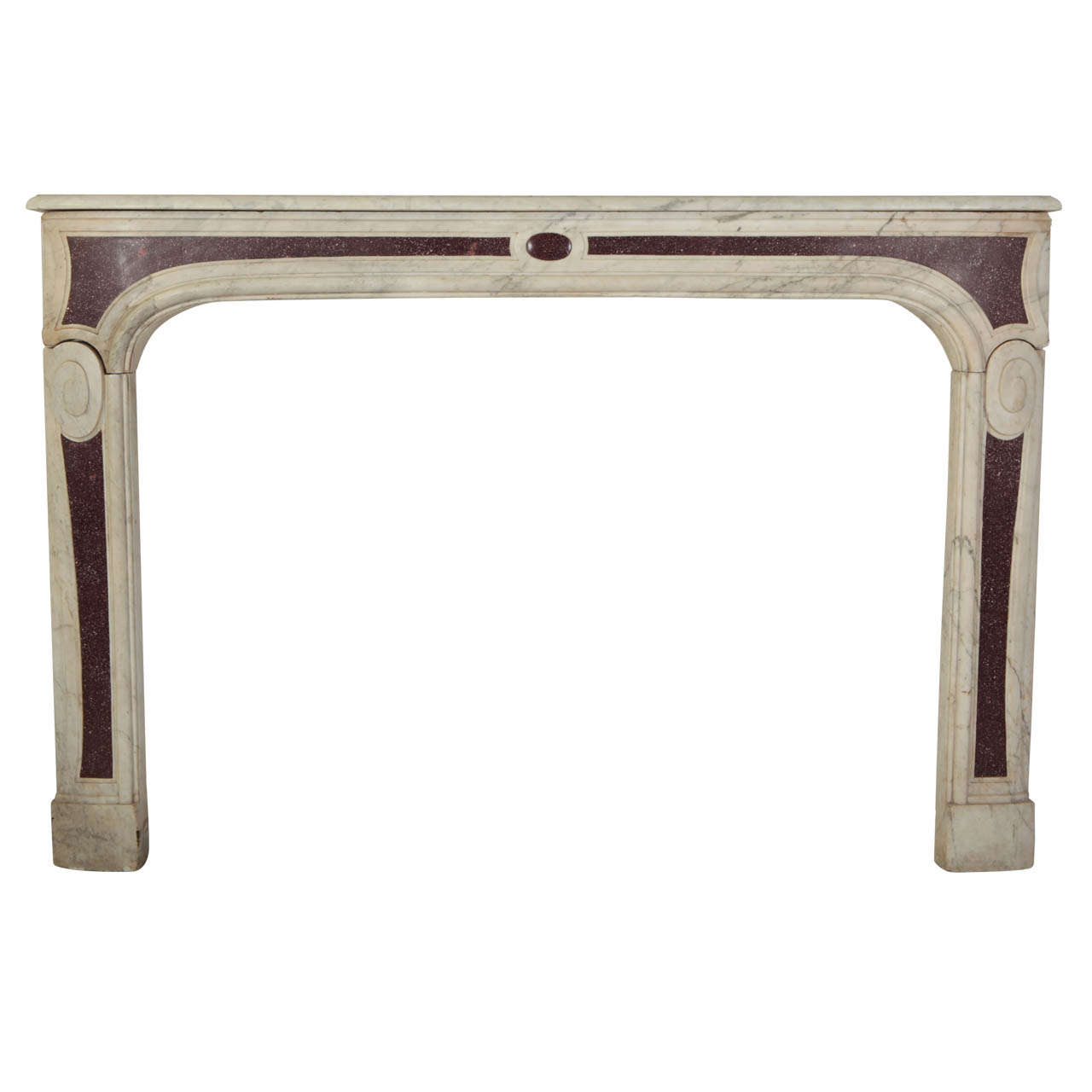 18th Century Louis XVI French White Marble Fireplace with Porphyry Insert