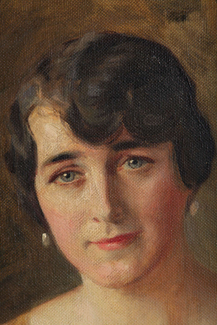 Portrait of a Young Lady Oil on Canvas by Ivan Lindhè 1920 5