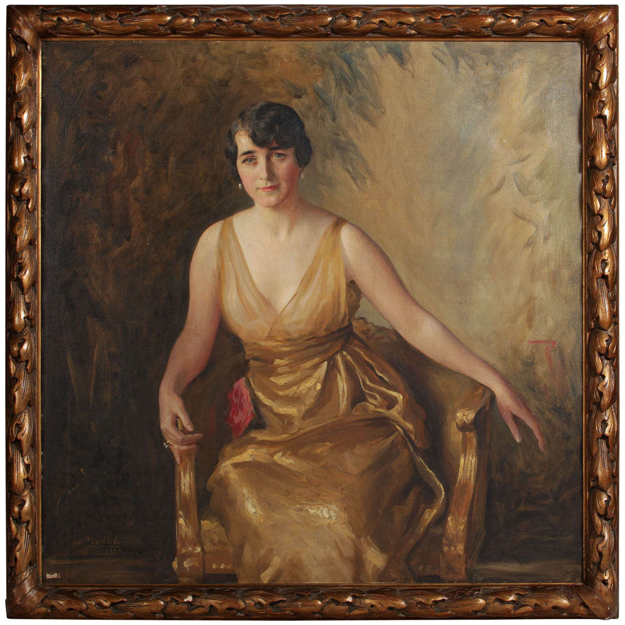Portrait of a Young Lady Oil on Canvas by Ivan Lindhè 1920 1