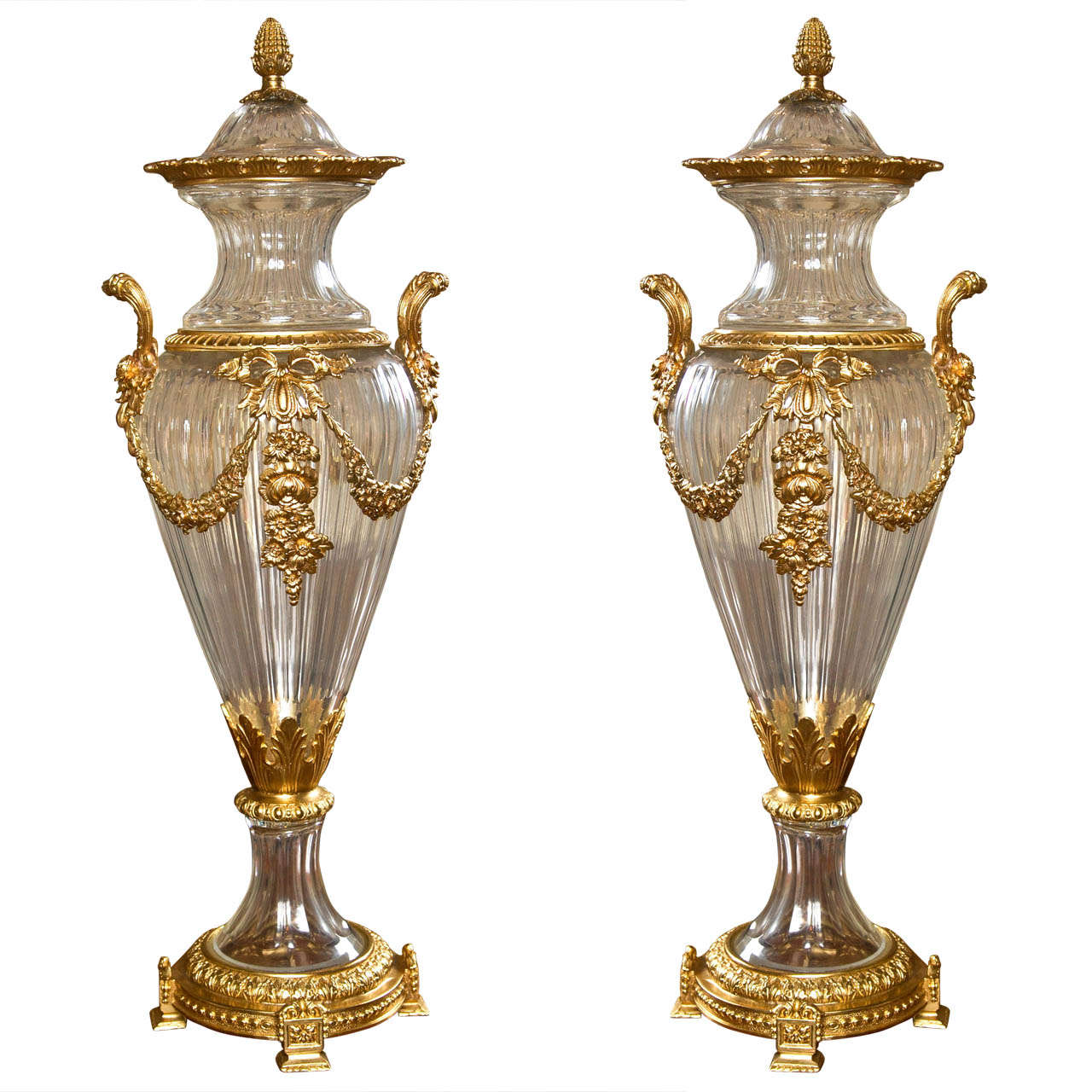 pair of glass and dore bronze lidded vases at 1stdibs. Black Bedroom Furniture Sets. Home Design Ideas