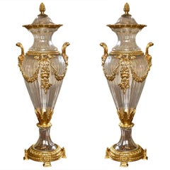 Pair of  Glass and Dore Bronze Lidded Vases