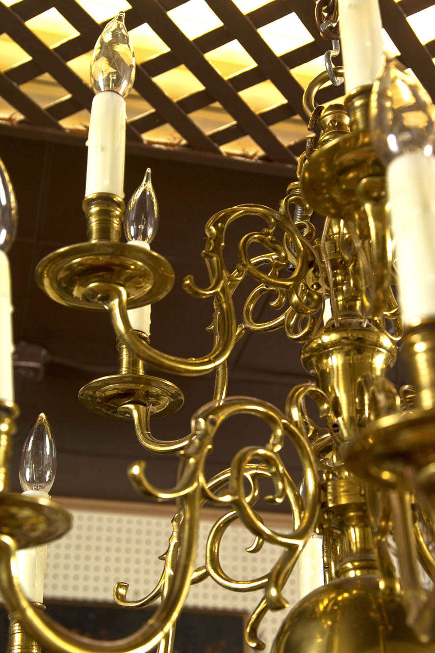Two Tier 12 Light Dutch Chandelier For Sale 1