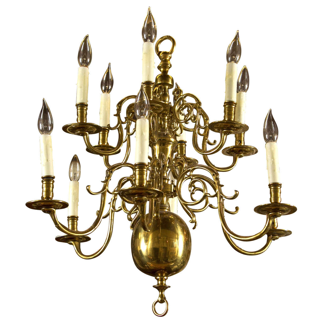 Two Tier 12 Light Dutch Chandelier For Sale