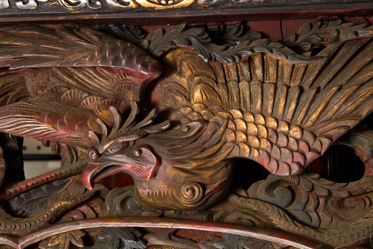 Unusual Deeply Carved and Painted Japanese Wood Panel For Sale 3