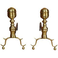 Pair of Brass Beehive Andirons