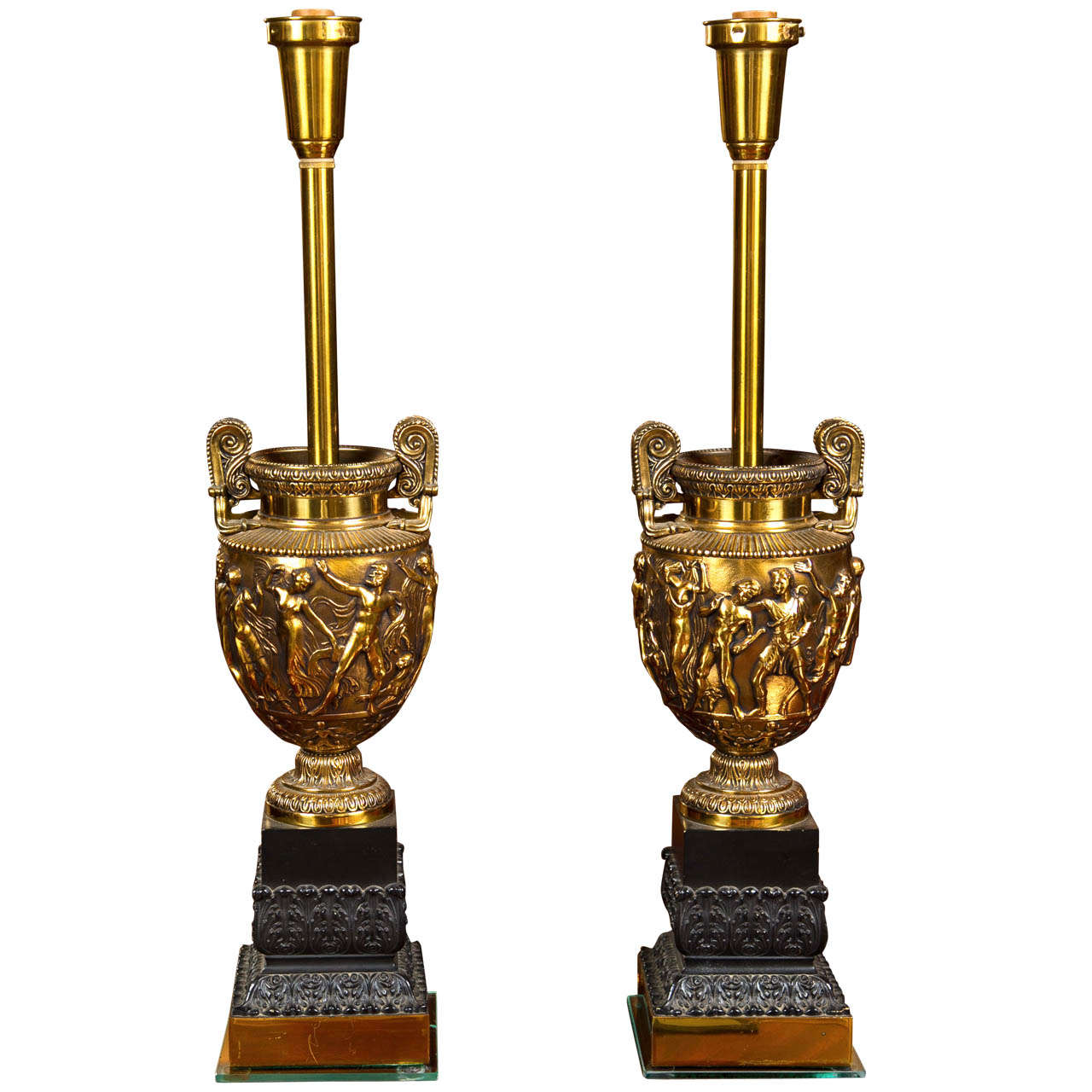 Pair of Bronze and Brass Urn Lamps