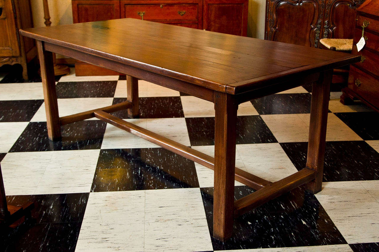 Two Thick, Wide Boards Flank A Narrow Central Spine On This Sturdy Table  With Breadboard