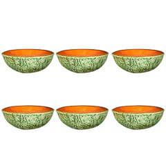 Six Trompe L'oeil Cantaloupe Ceramic Bowls