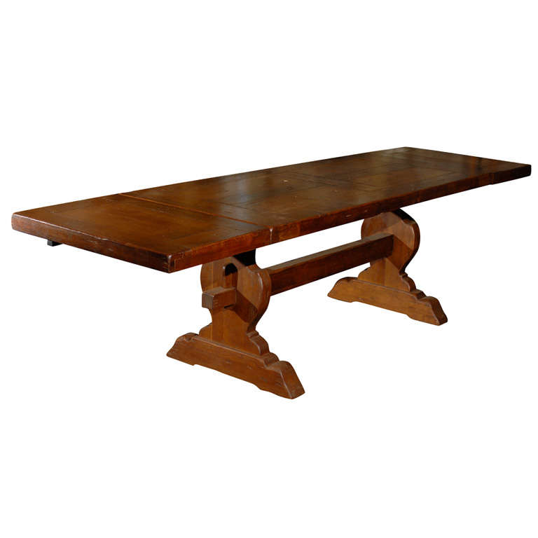 A French 1920s Trestle Dining Table With Removable Leaves