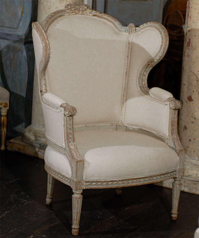 French 19th Century Louis XVI Style Bergère à Oreilles with Tabouret In Good Condition For Sale In Atlanta, GA