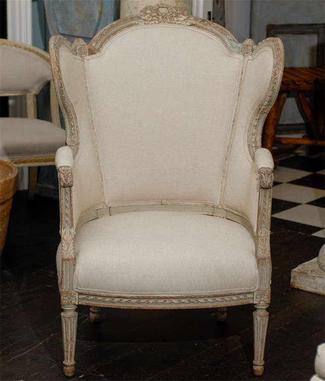 Upholstery French 19th Century Louis XVI Style Bergère à Oreilles with Tabouret For Sale
