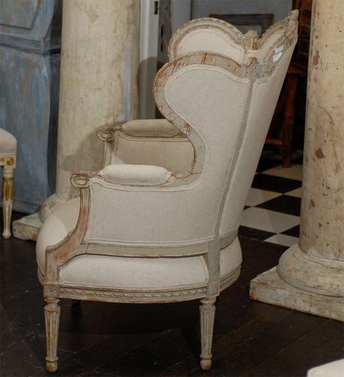 French 19th Century Louis XVI Style Bergère à Oreilles with Tabouret For Sale 1
