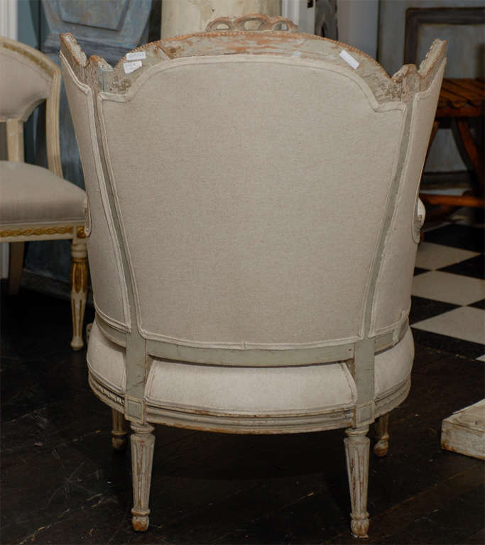 French 19th Century Louis XVI Style Bergère à Oreilles with Tabouret For Sale 2