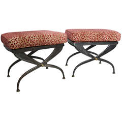 Pair of Neoclassicial Steel Benches