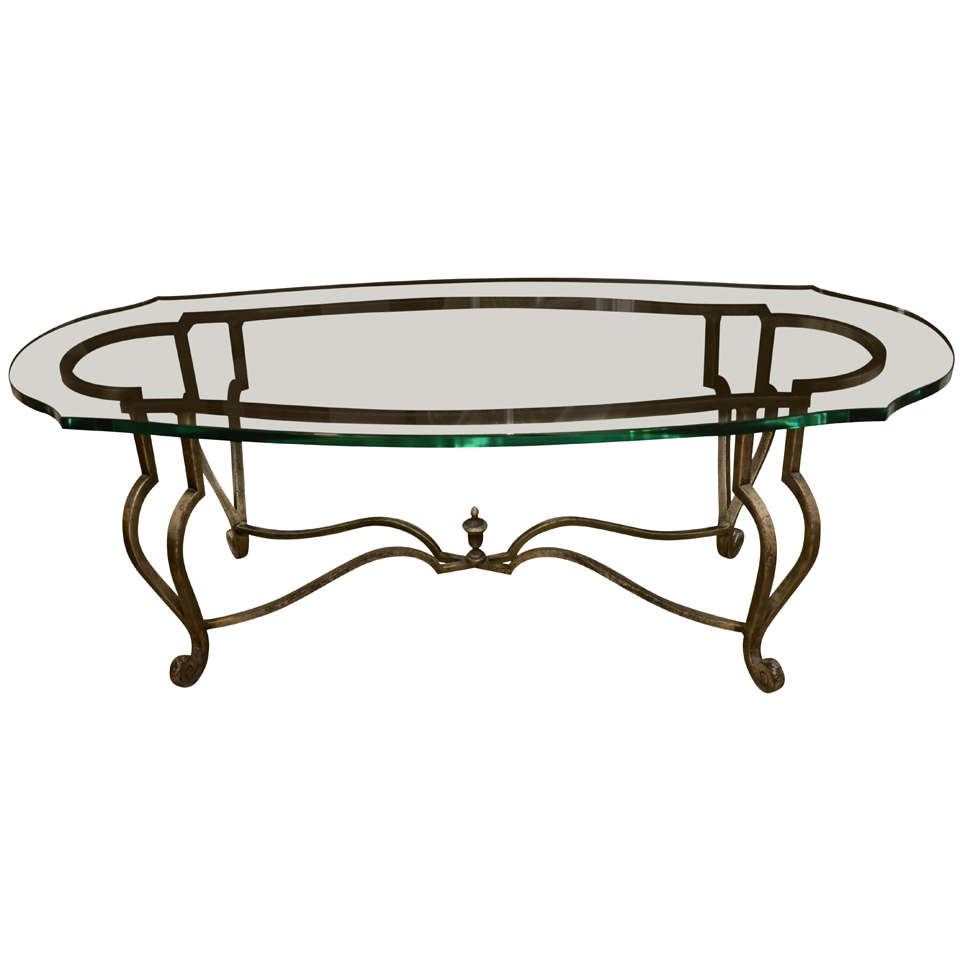 Oval Metal And Glass Cocktail Table Circa 1960 At 1stdibs