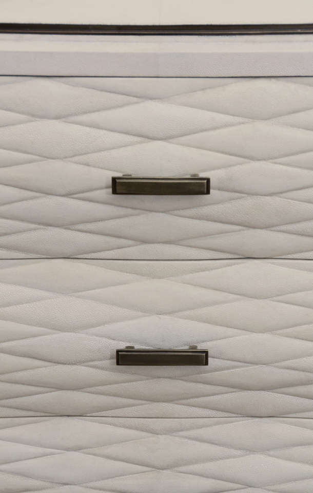 Pair Of White Shagreen 4 Drawer Commodes With Quilted