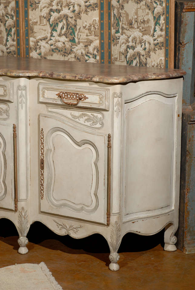19th Century French Provincial Paint Decorated Faux Marble Top Enfidale In Excellent Condition For Sale In Atlanta, GA