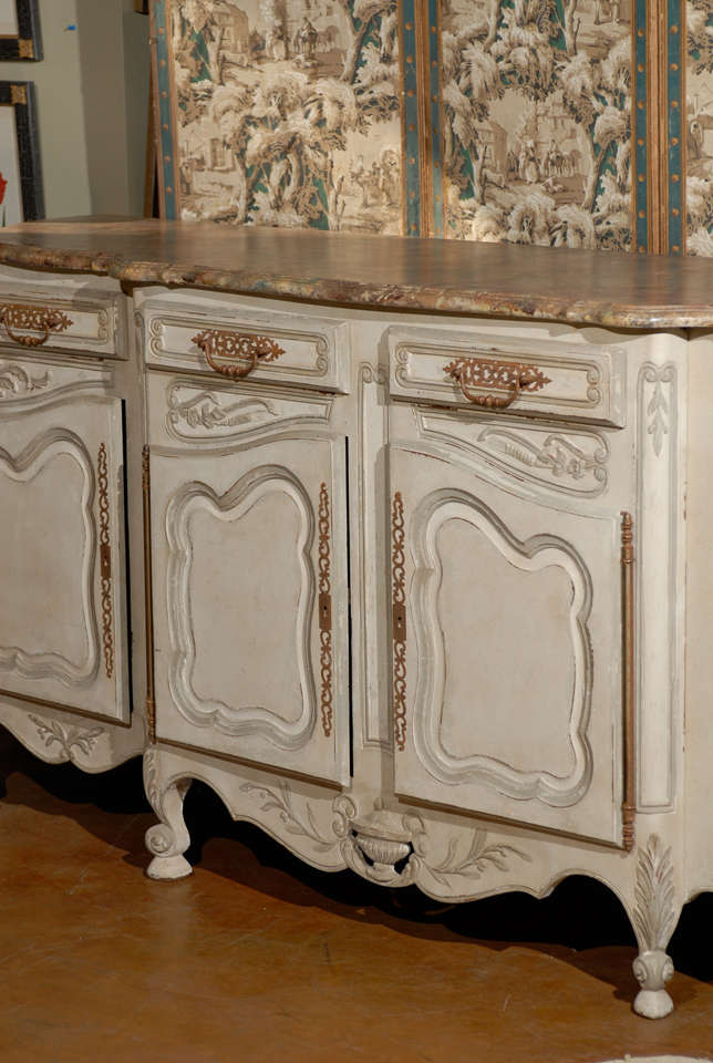 19th Century French Provincial Paint Decorated Faux Marble Top Enfidale For Sale 1