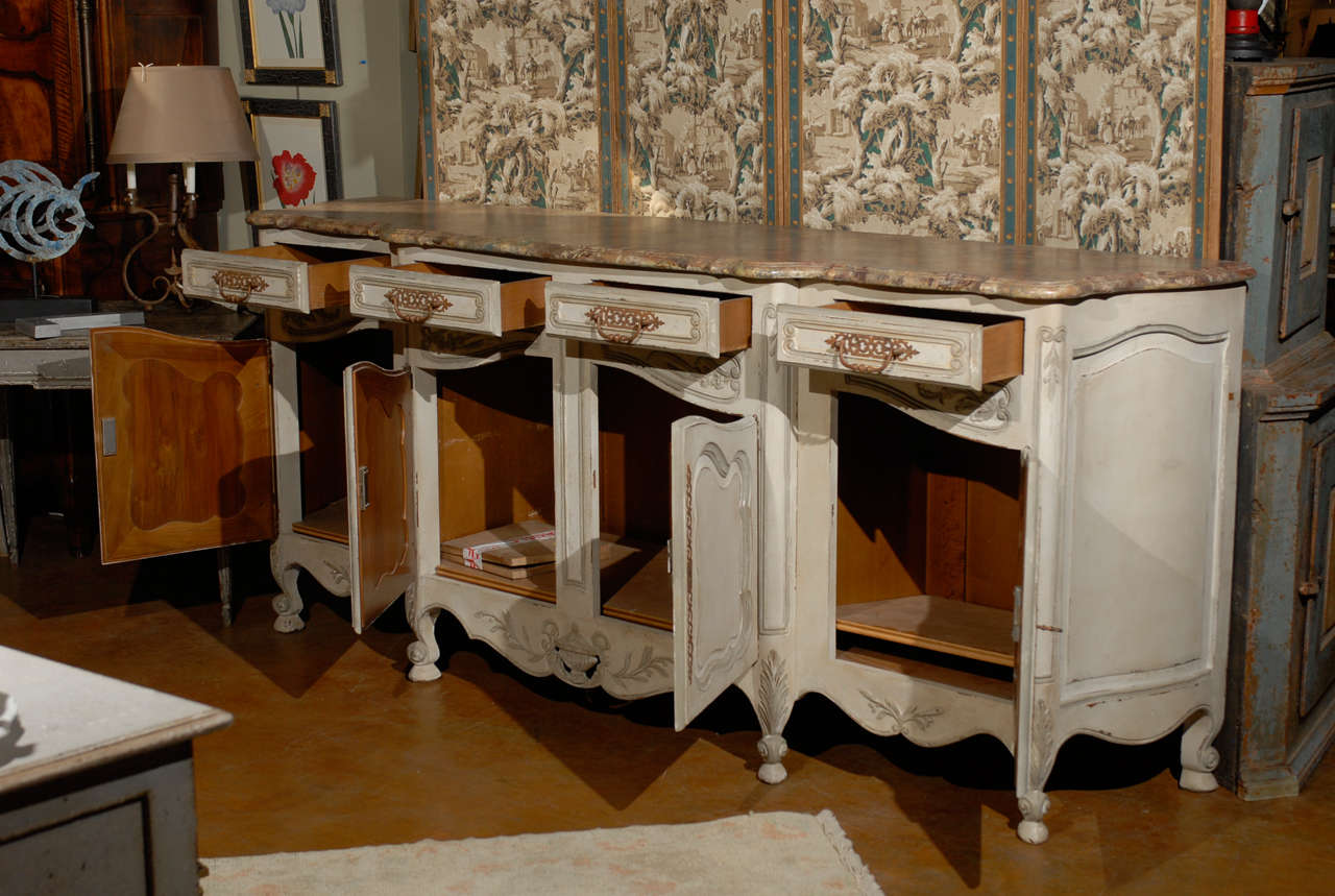 19th Century French Provincial Paint Decorated Faux Marble Top Enfidale For Sale 2