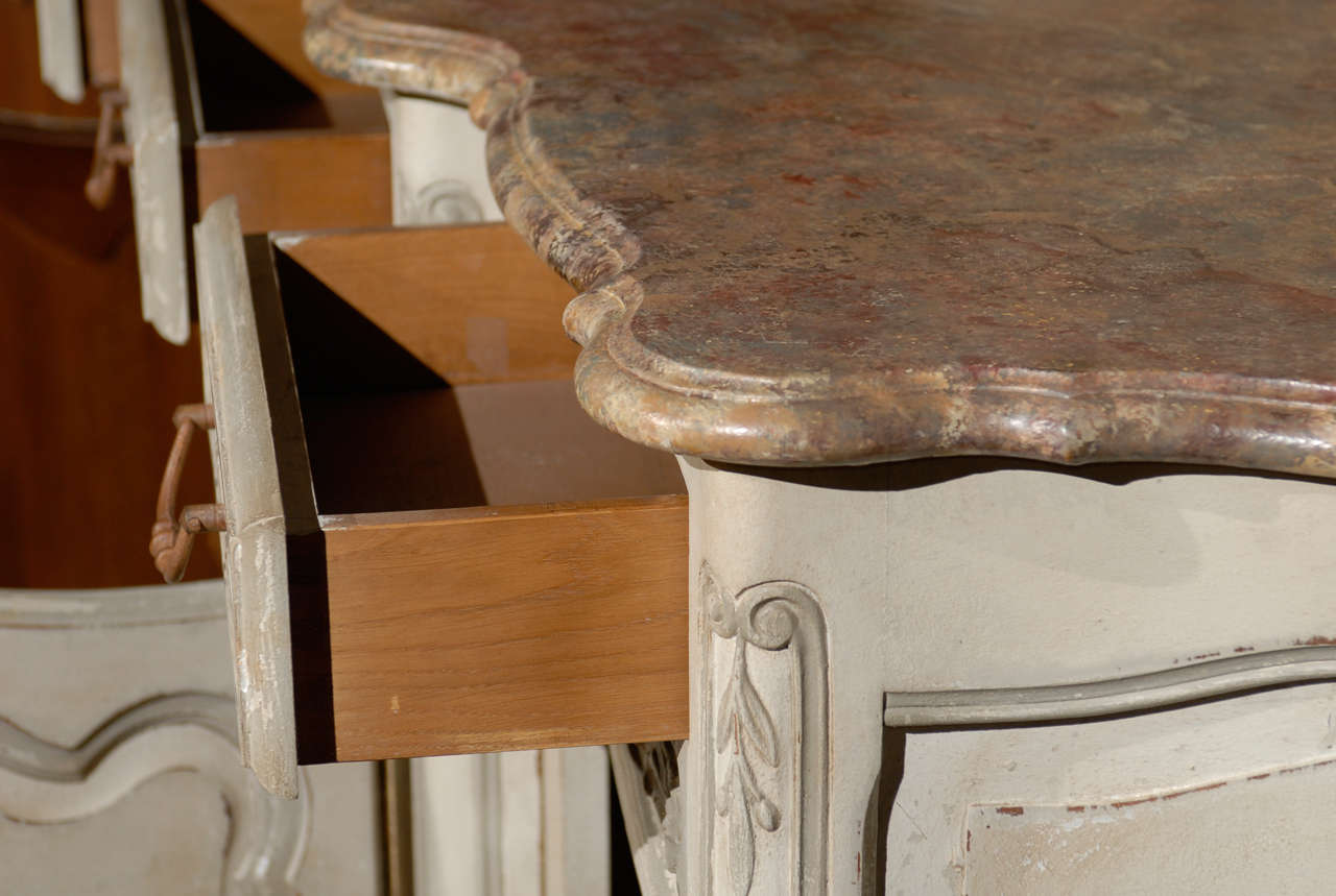 19th Century French Provincial Paint Decorated Faux Marble Top Enfidale For Sale 3