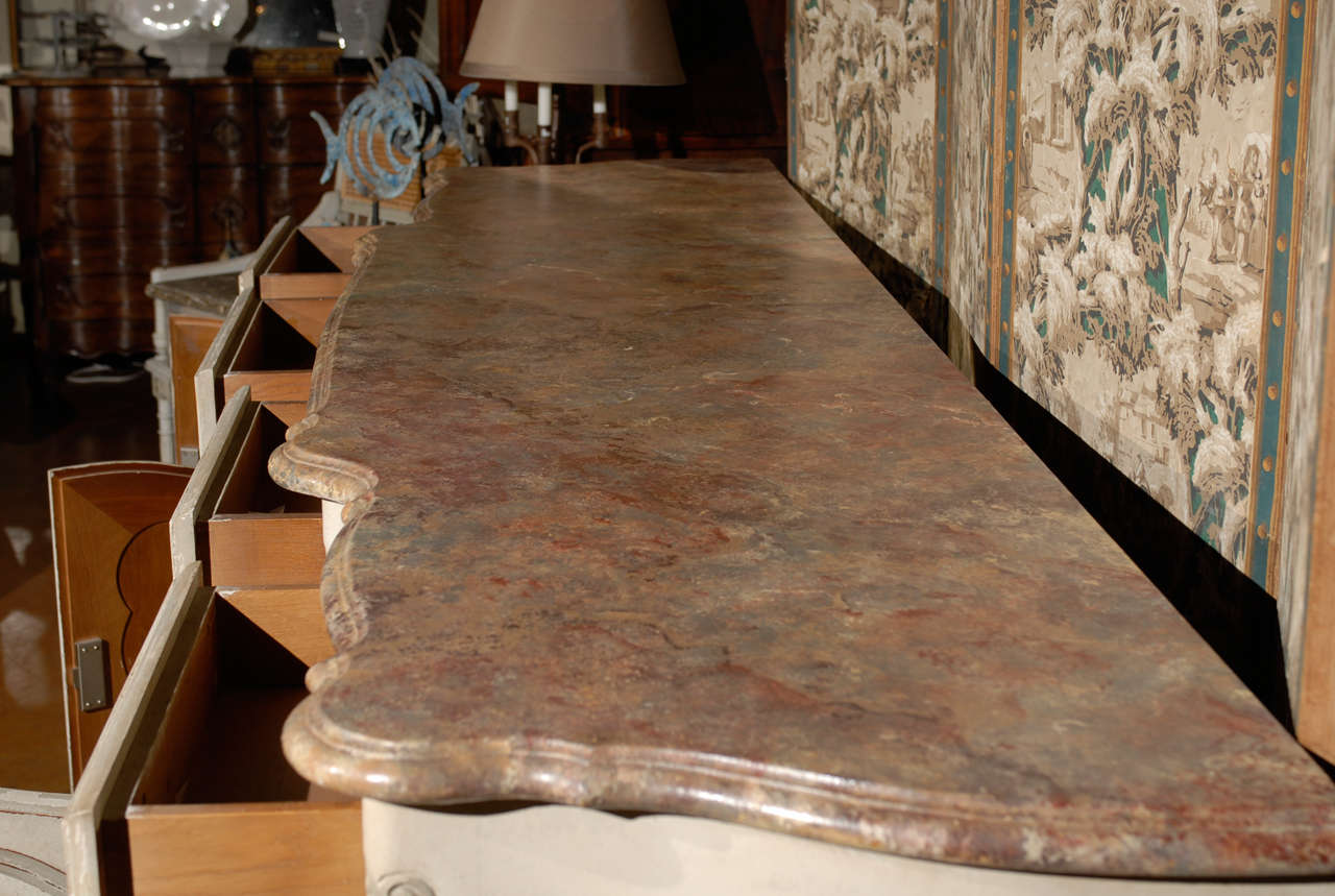 19th Century French Provincial Paint Decorated Faux Marble Top Enfidale For Sale 4