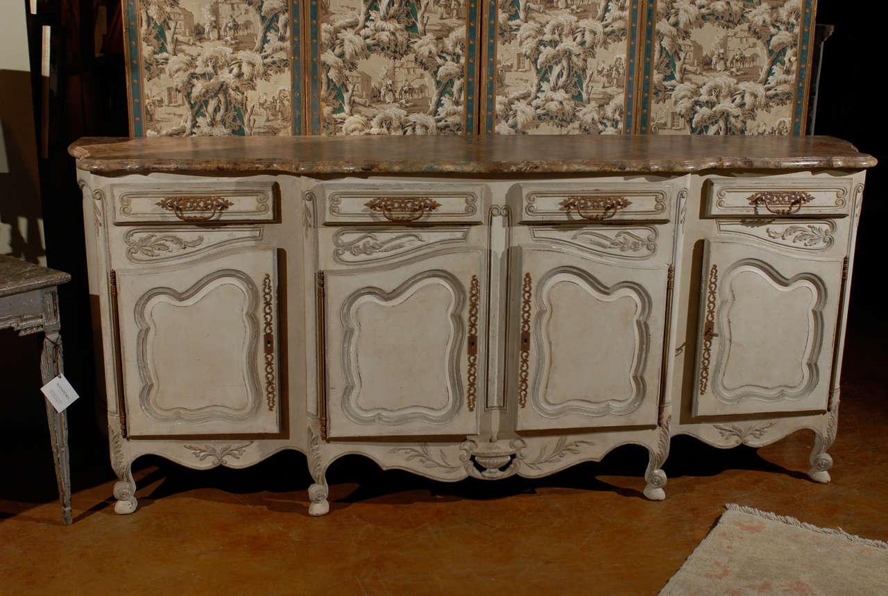19th Century French Provincial Paint Decorated Faux Marble Top Enfidale For Sale 5
