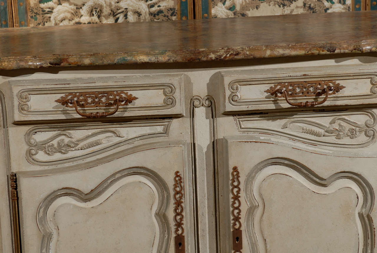 19th Century French Provincial Paint Decorated Faux Marble Top Enfidale For Sale 6