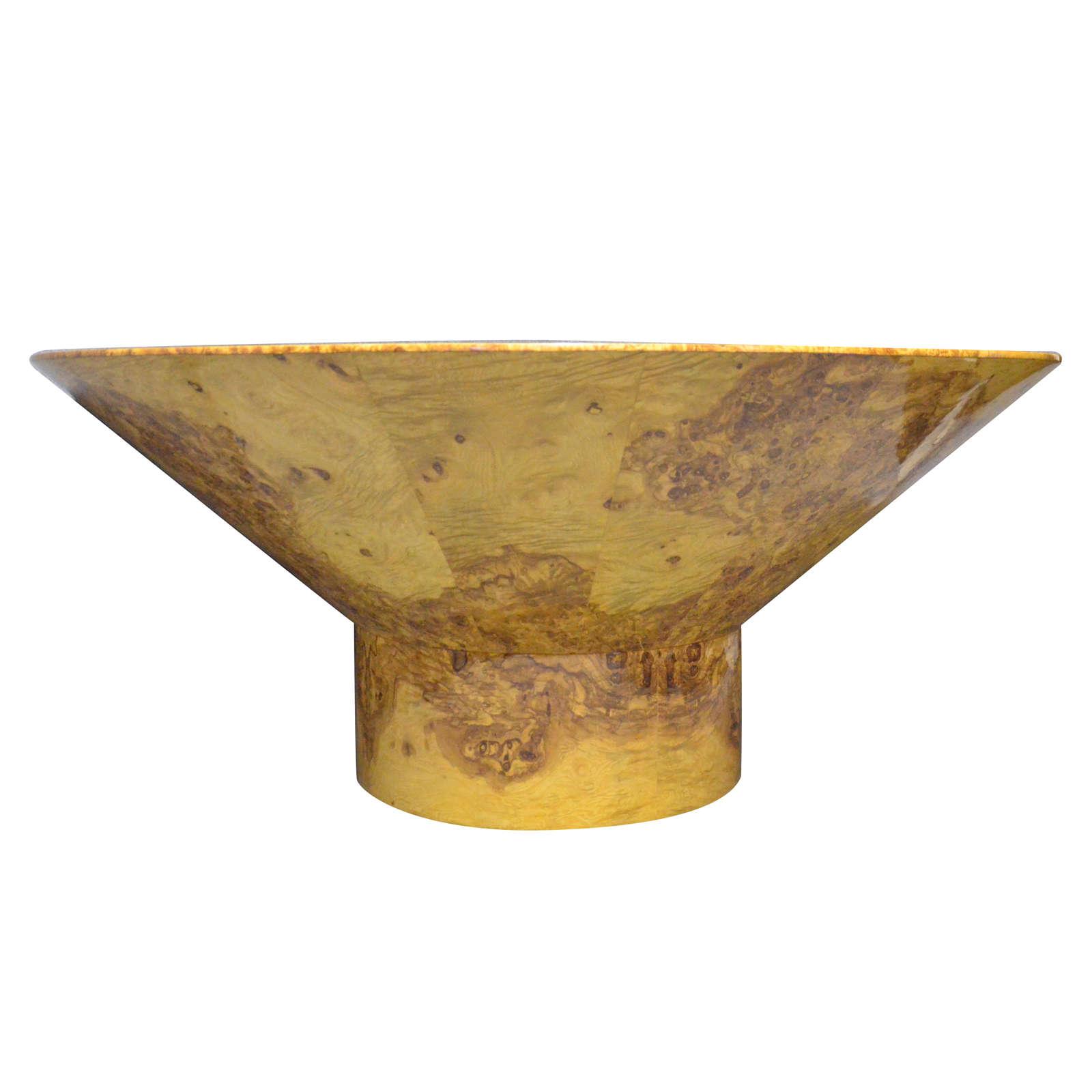 1920s Round Olive Burl Wood Table Art Deco