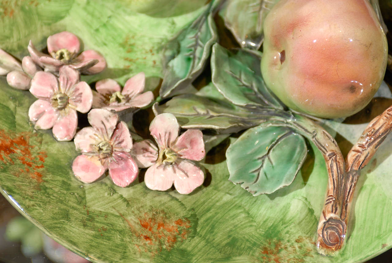 Rococo Decorative Antique Longchamp Majolica Plate with Apples & Flowers, circa 1880 For Sale