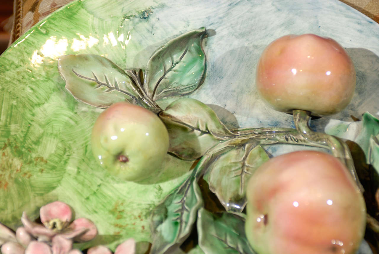 Hand-Crafted Decorative Antique Longchamp Majolica Plate with Apples & Flowers, circa 1880 For Sale