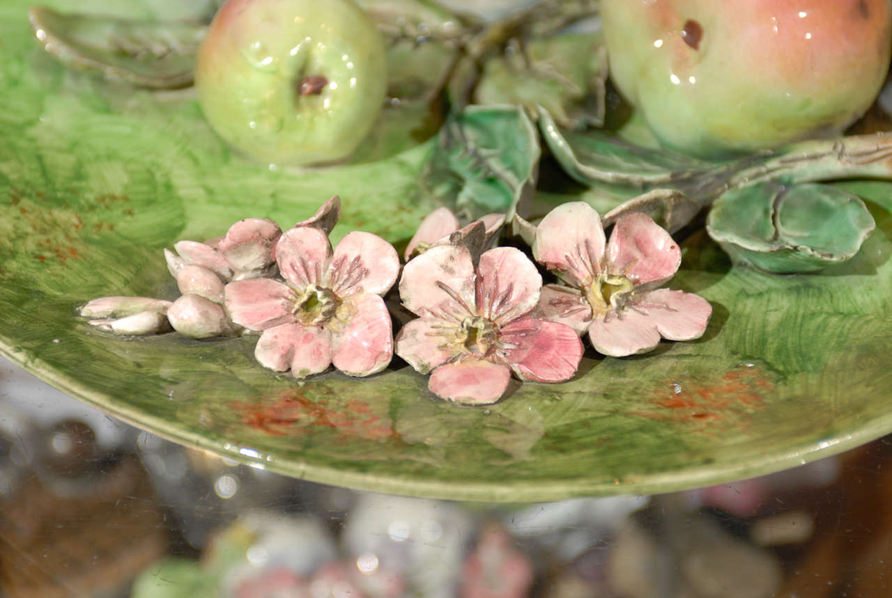 Decorative Antique Longchamp Majolica Plate with Apples & Flowers, circa 1880 For Sale 2