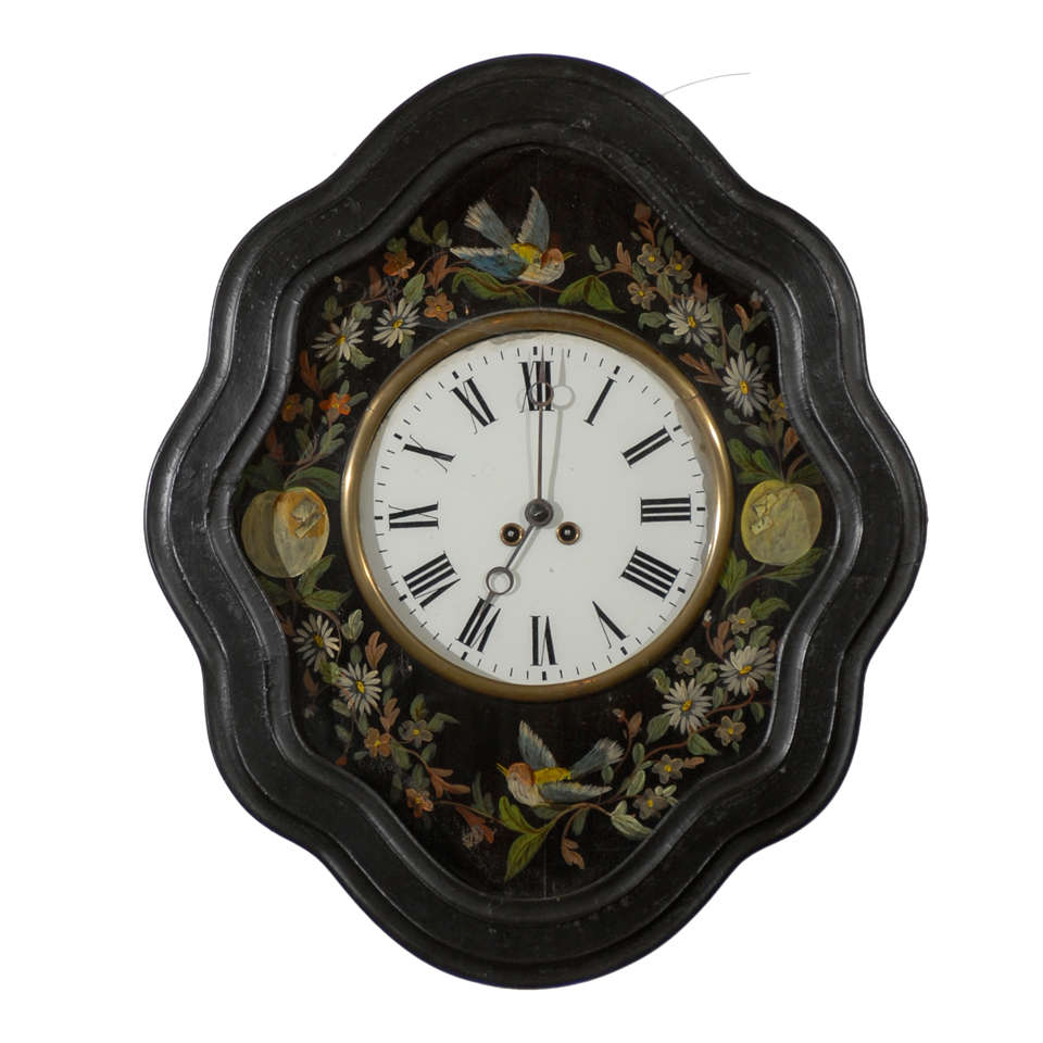 Oeil de boeuf eye of the bull painted clock with birds fruit and flowers at 1stdibs - Oeil de boeuf ...