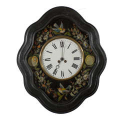 Oeil de Boeuf (Eye of the Bull) Painted Clock with Birds, Fruit, and Flowers