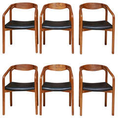 Set of 6 Solid Oak Dinning Chairs