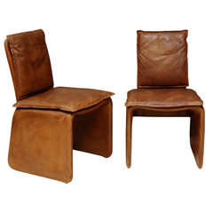 Set of 4 Leather Italian Dinning Chairs
