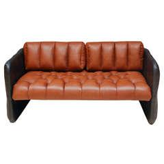 Swedish Tufted Leather Loveseat