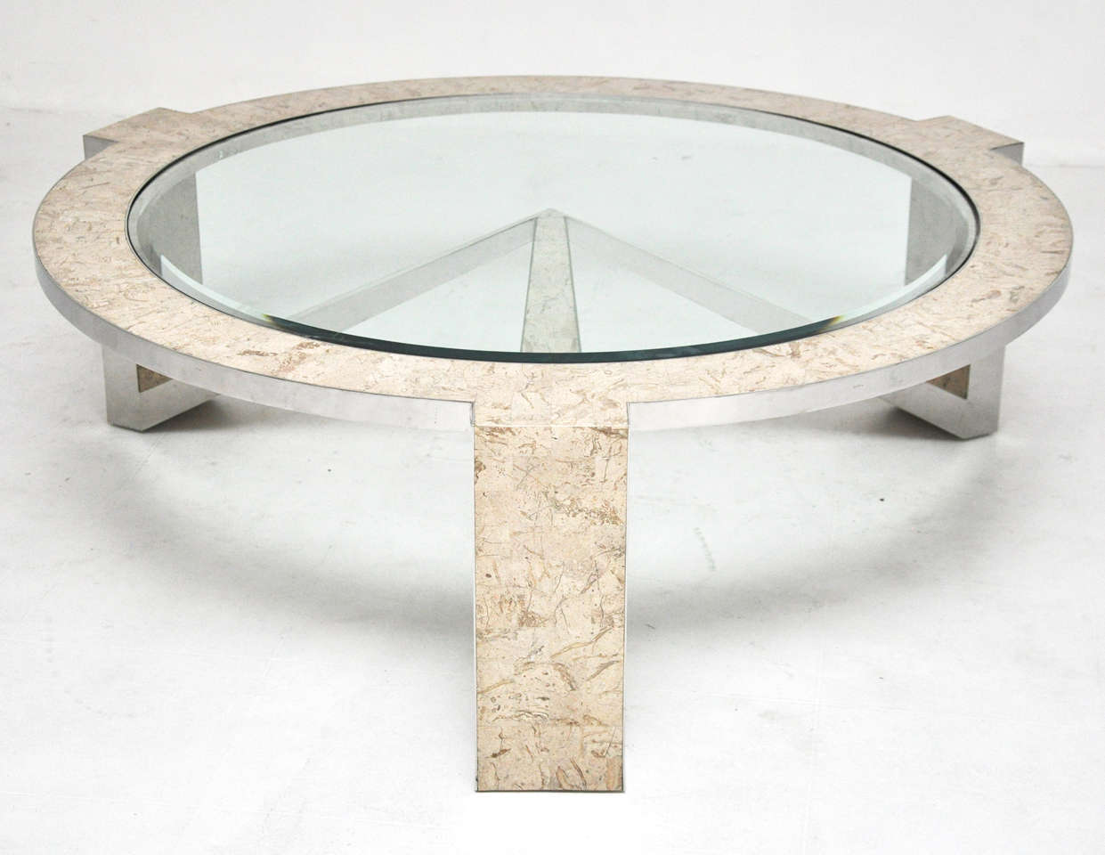 Stone And Steel Coffee Table Robert Marcius At 1stdibs