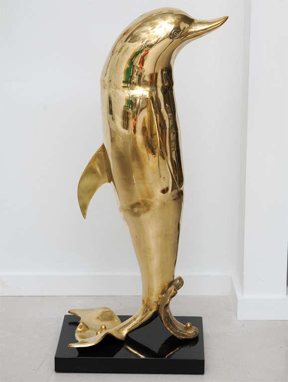 Brass Dolphin Sculpture 3