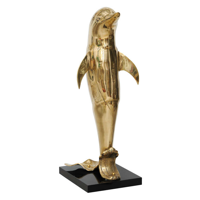 Brass Dolphin Sculpture For Sale At 1stdibs