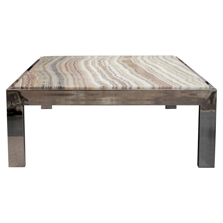 pace collection onyx top coffee table at 1stdibs. Black Bedroom Furniture Sets. Home Design Ideas