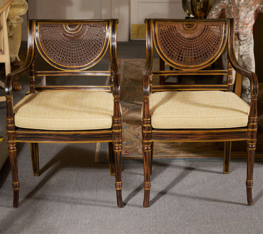 Regency Style Chairs ~ Four english regency style arm chairs at stdibs