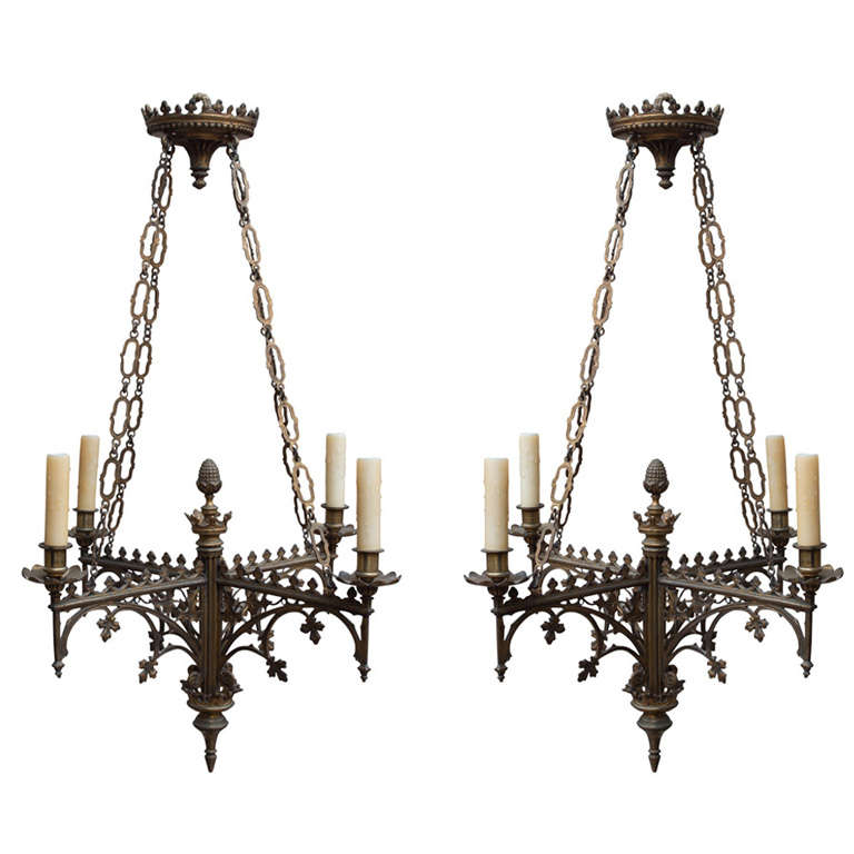 Pair Of Simple Church Lights For Sale: Pair Of Continental Gothic Style, Four-Light Chandeliers