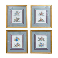Set of Four Armorial Engravings by Charles Catton